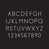 Modern linear font, vector alphabet. Letters and numbers - 117181145