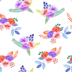 Seamless pattern with the simple watercolor floral bouquets, hand drawn on a white background
