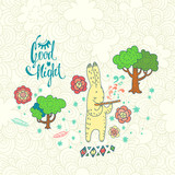 childish vector background with rabbit. doodle illustration with tree, flowers and cute cartoon character