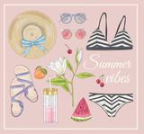 Summer fashion vector accessories set. - 117195173