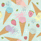 Cute seamless pattern with ice creams, strawberries and raspberr - 117195191