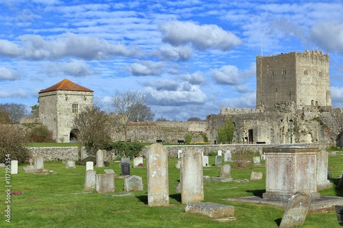 Poster PORTCHESTER, HAMPSHIRE, ENGLAND, 30 MAR 2015: Portchester Castle is a medieval c