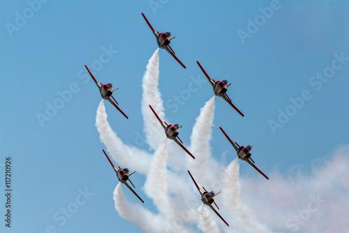 ZARAGOZA, SPAIN - MAY 21: Aerobatic Spanish patrol (Eagle Patrol