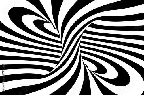 Fototapeta Black and white abstract spiral background, 3D rendering
