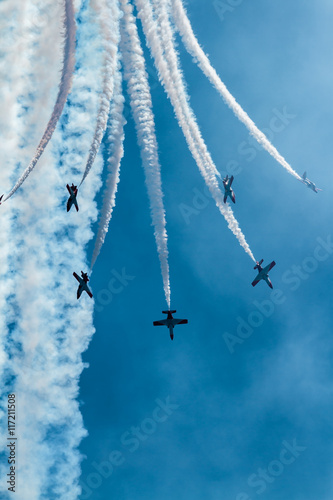 Poster ZARAGOZA, SPAIN - MAY 21: Aerobatic Spanish patrol (Eagle Patrol