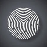 Vector Fingerprint icon. Fingerprint simple icon on a dark gray background