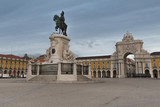 Statue of King Jose I and Rue Augusta Arch on commerce square in