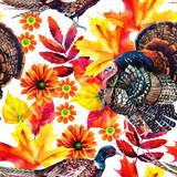 Autumn watercolor seamless pattern