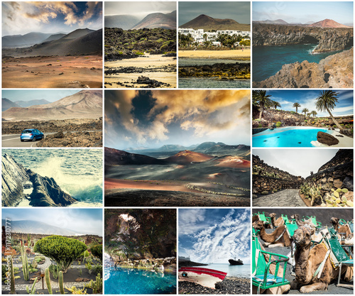 Zdjęcia na płótnie, fototapety, obrazy : collage of picturesque views and sights of Lanzarote in Canary islands, Spain