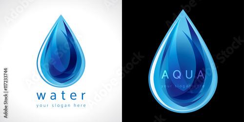 Ikona kropla wody. Logotyp do ochrony przed wodą lub dostarczania wody.