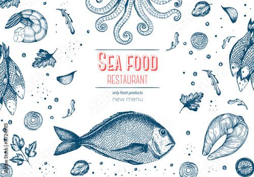 Fototapeta Vintage sea food frame vector illustration. Hand drawn with ink. Vintage design template.