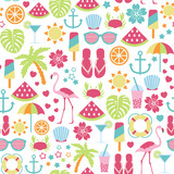 seamless pattern with summer icons - 117250513