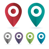 Set color maping pin location vector icons