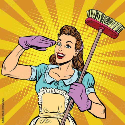 Naklejka Female cleaner cleaning company pop art retro