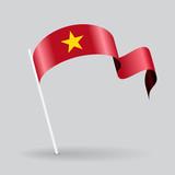 Vietnamese wavy flag. Vector illustration.