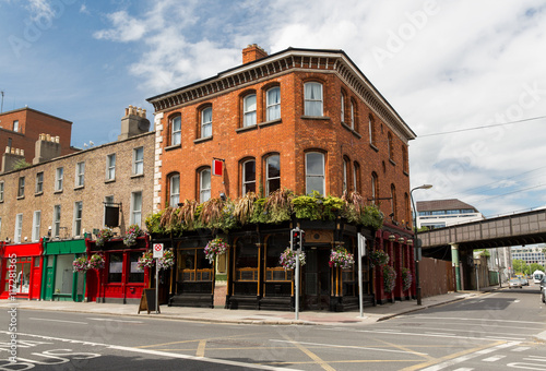 building with bar or pub on street of Dublin city Poster