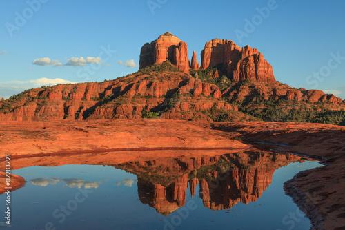 Poster Baksteen Cathedral Rock Reflection Sedona Arizona