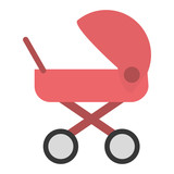 flat design baby stroller icon vector illustration