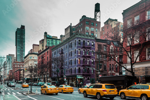 Foto op Plexiglas New York TAXI Buildings and streets of Upper West Site of Manhattan, New York