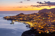 Aerial view of Funchal by night, Madeira Island, Portugal
