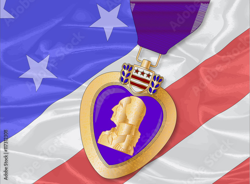 Silk Flag and Purple Heart