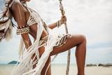 Fototapety Attractive wild boho woman at beach