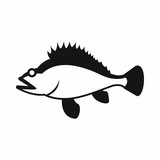 Rose fish, Sebastes norvegicus icon in simple style isolated vector illustration