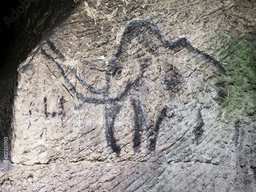 Poster Cildren art in sandstone cave. Black carbon mammoth paint