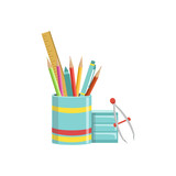 Set of School Utensils In Plactic Cup