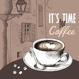 Plakat z obrazem filiżanki kawy na tle europejskiego krajobrazu