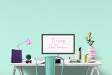 Trendy teenage girl room - Mockup - put your text on the monitor  - 117360312