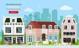 Fototapety Modern graphic architectural design. Cute european buildings: private houses, cafe and stores. House facades. Flat style vector illustration.