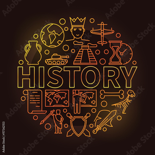 History colorful linear illustration