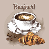 Image a cup of coffee and bakery product croissant. Vector illustration.