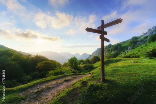 signpost in the mountain