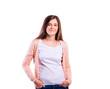 Girl in t-shirt and cardigan, young woman, studio shot