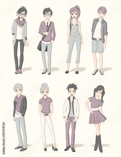 Group of cartoon young people. Manga anime teenagers.  - 117374724