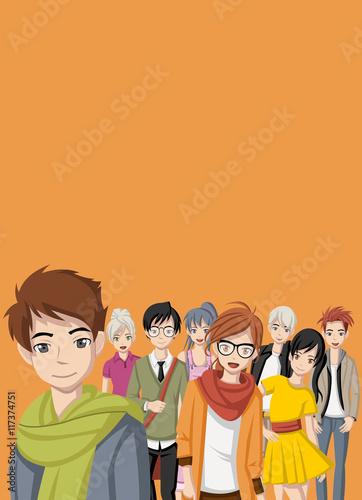 Group of cartoon young people. Manga anime teenagers.  - 117374751