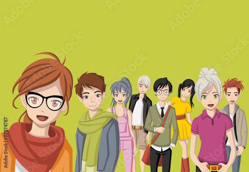 Group of cartoon young people. Manga anime teenagers.  - 117374787