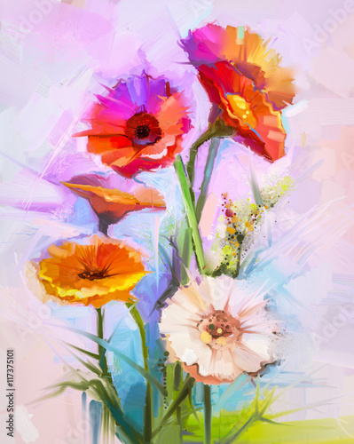 Plakat Abstract oil painting of spring flowers. Still life of yellow and red gerbera flower. Colorful Bouquet flowers with light purple, blue color background. Hand Painted floral modern Impressionist style
