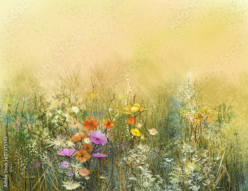 Obraz Abstract watercolor painting wildflowers and soft leaves. Vintage watercolor painting flowers in soft color and blur background. Yellow-brown color texture on grunge paper background