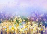 Fototapety Abstract oil painting flowers plant. Dandelion flower in fields. Meadow landscape with wildflower. Purple,Blue sky color with bokeh