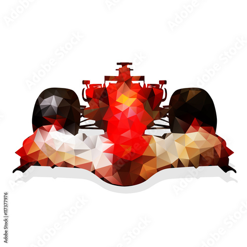 Fototapeta Abstract red formula racing car. Geometrical illustration. Polyg
