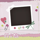 Baby girl scrapbook elements, photoframe, buttons, dragonfly, pin