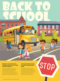 Back To School Safety flayer. Vector illustration.