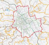 Map of Warszawa city. Roads