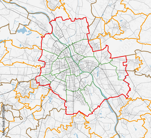 Map of Warszawa city. Roads - 117385528