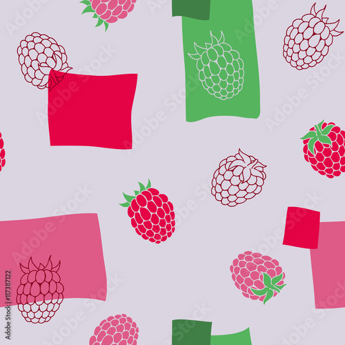 Tapeta Raspberries seamless pattern graphic art red green color illustration vector