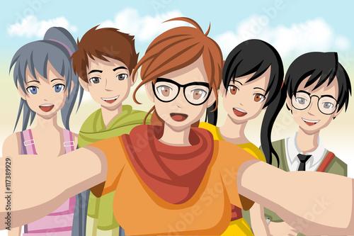 grupa-kreskowek-mlodzi-ludzie-bierze-telfie-fotografie-obraz-nastolatkow-anime-manga