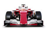 Fototapety Race car and driver front view on a white isolated background. 3d rendering